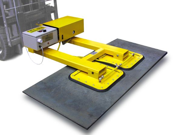 Fork Truck Plate Lifter - This horizontal only vacuum lift attachment handles