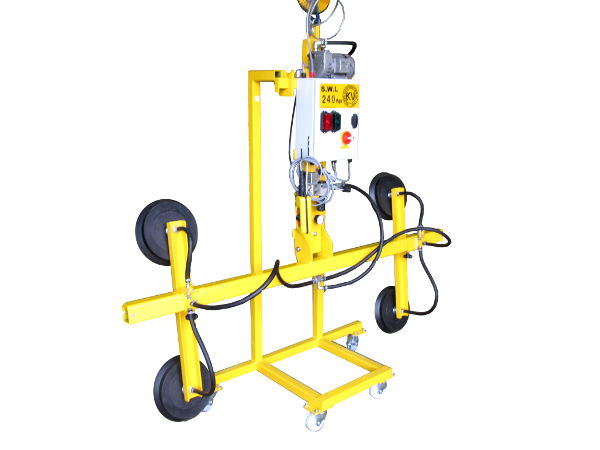 240Kg SWL mains powered shop glass lifter shown with mobile storage trolley.