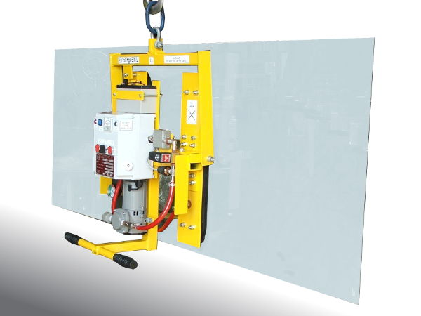 The compact Minivac vacuum lifter shown here lifting in the vertical plane,