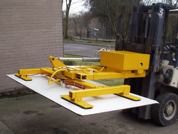 A Fork Mounted Cladding Panel Vacuum Lifter Servicing the construction industry, capable