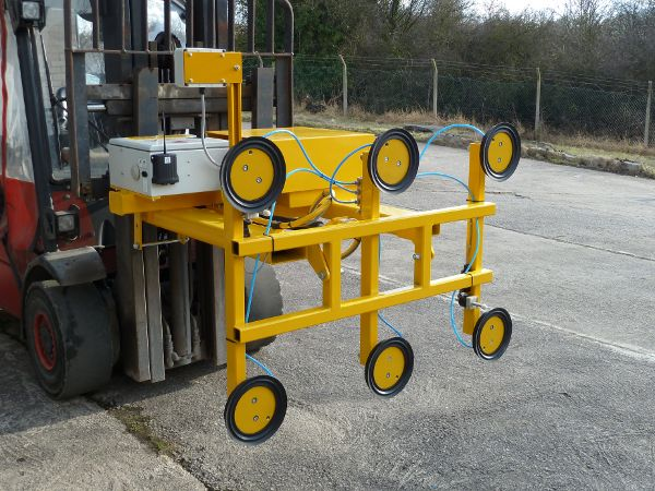 Fork Mounted Glass Vacuum Lifter - 100Kgs S.W.L. The vacuum frame angle