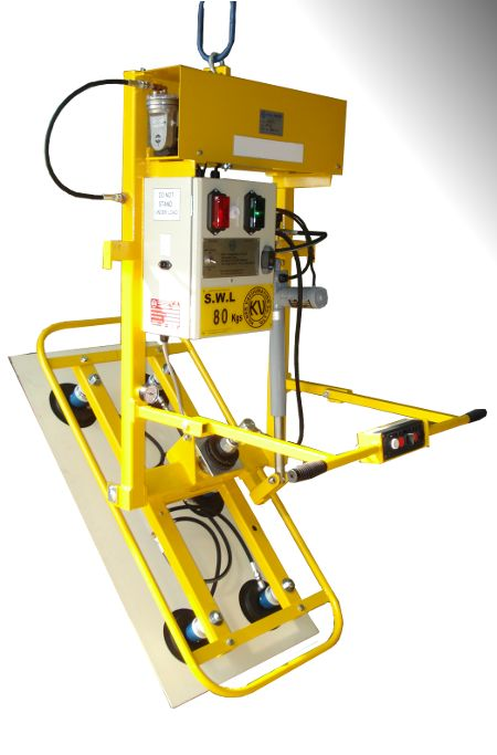 Curved Profile Vacuum Lifter - An electric actuator provides horizontal to vertical
