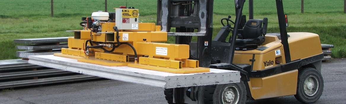 fork truck attachment for lifting concrete panels or slabs